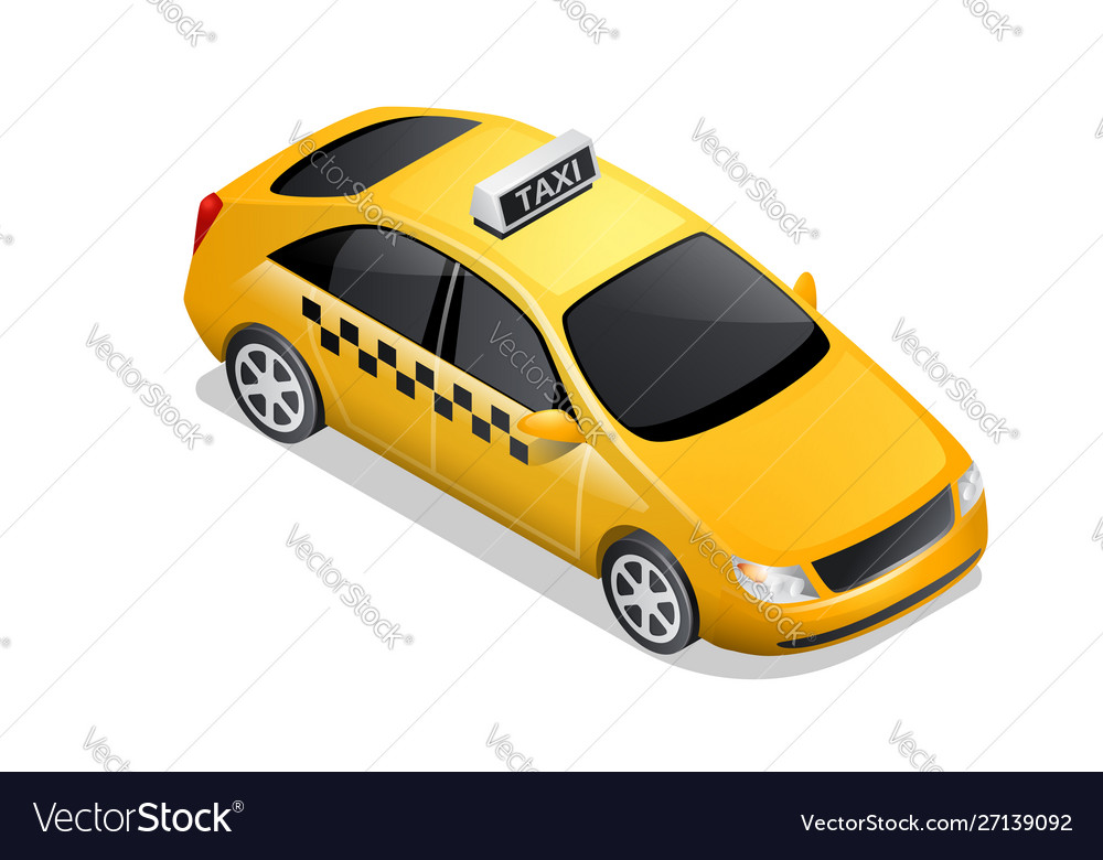 Isometric car icon checkered cab isolated on white