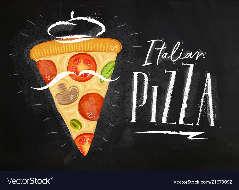 Italian pizza slice chalk