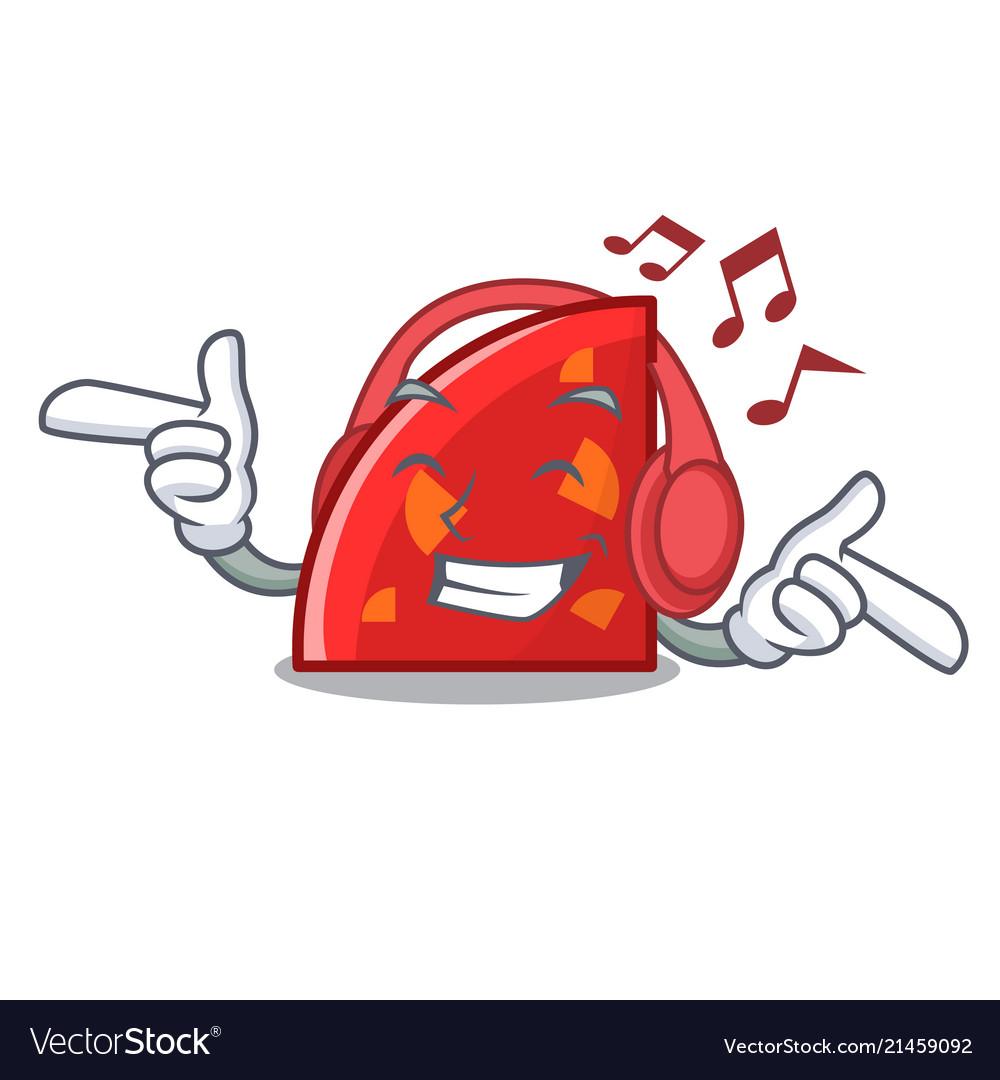 Listening music quadrant mascot cartoon style