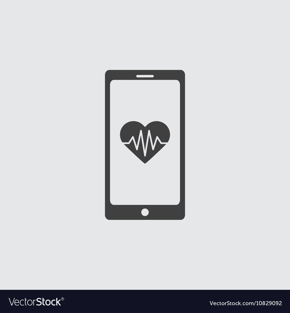 Mobile phone with heart sign icon vector image