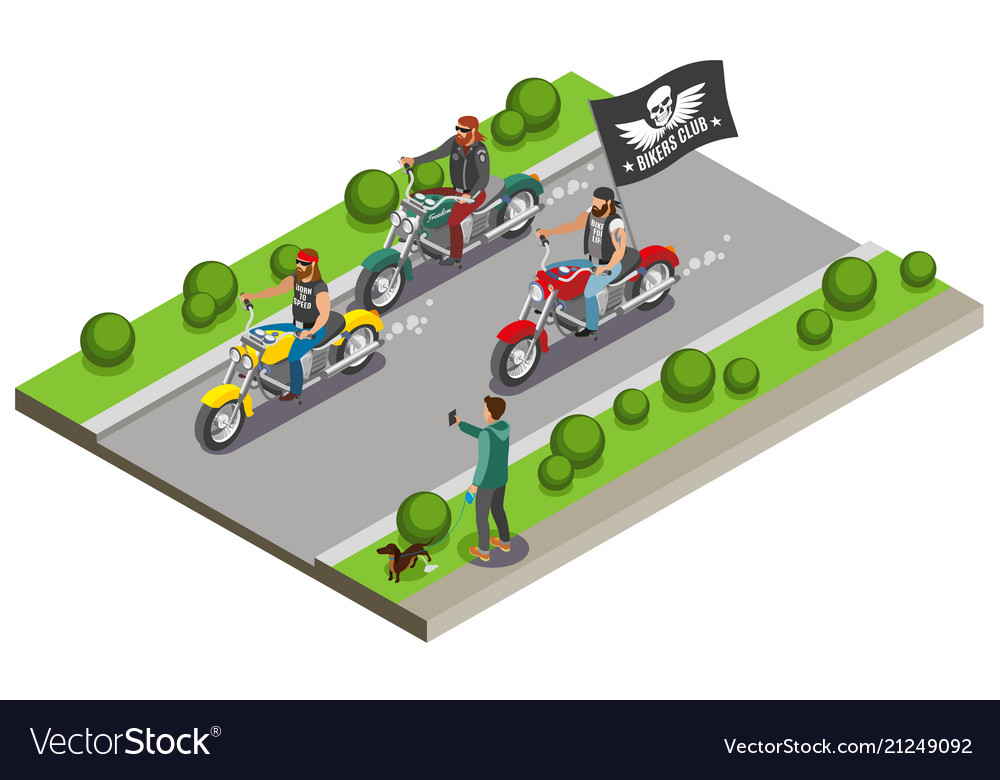Motocross bikers isometric composition