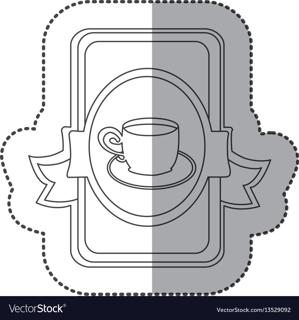 Silhouette symbol cup with plate icon vector image