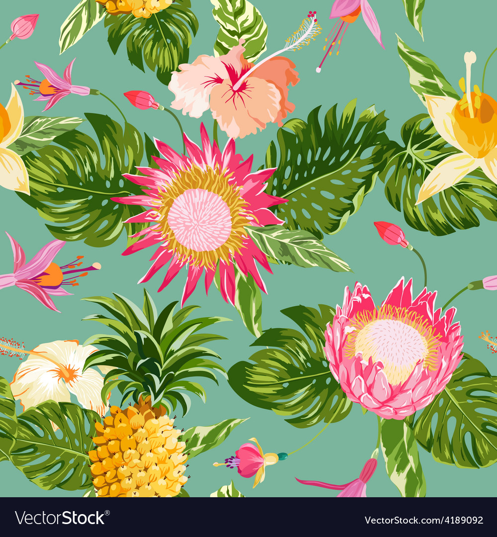 Tropical Flowers Background Royalty Free Vector Image