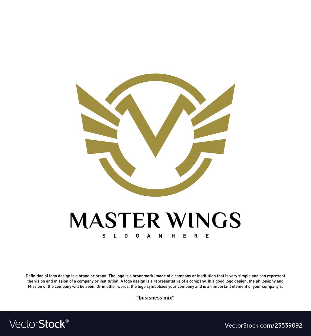 Wings m letter logo initial m wings logo template