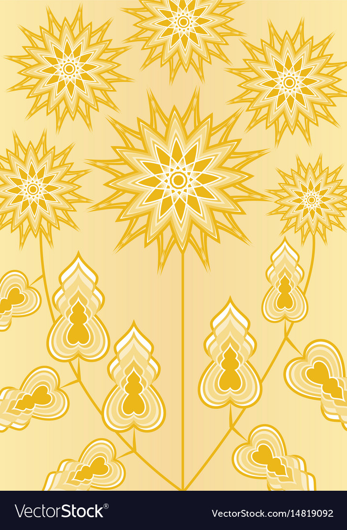 Yellow fantasy flower on light yellow background vector image mightylinksfo