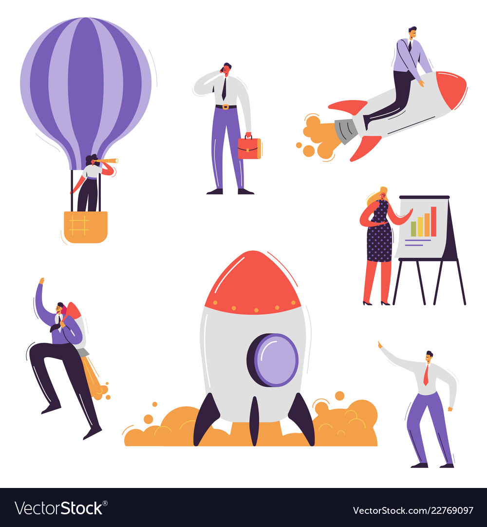 Business characters collection businessman rocket