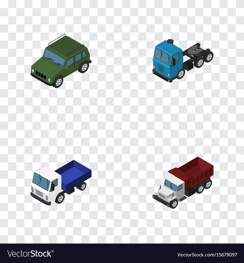 Isometric automobile set of armored truck lorry