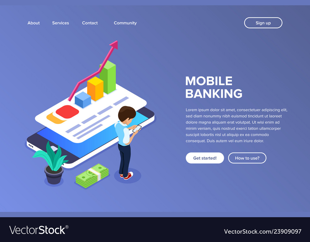 Isometric mobile banking concept man performs
