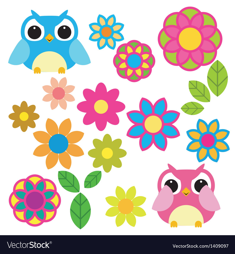 Owls and flowers