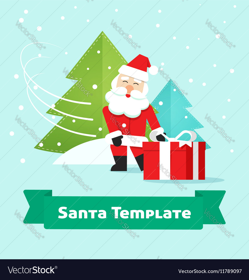 Santa Claus with gift Merry Christmas New Year