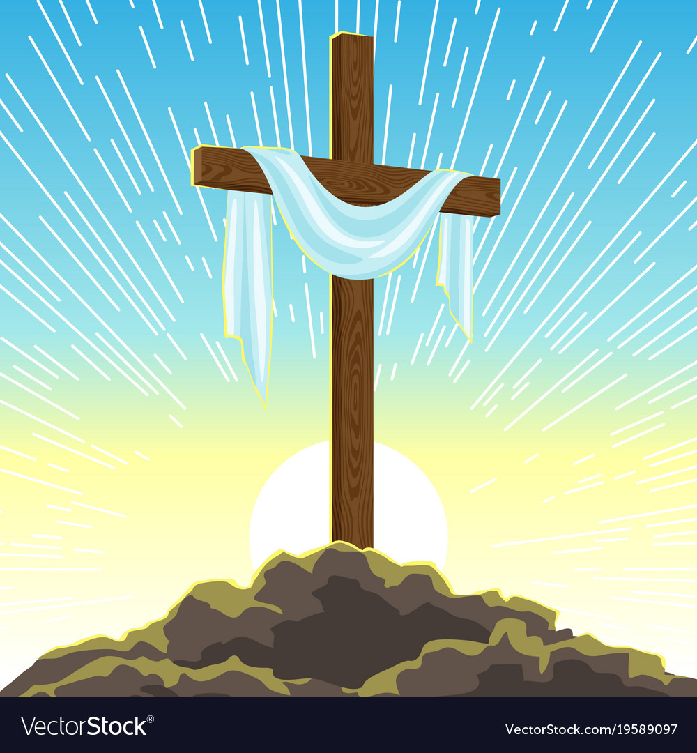 Silhouette of wooden cross with shroud happy