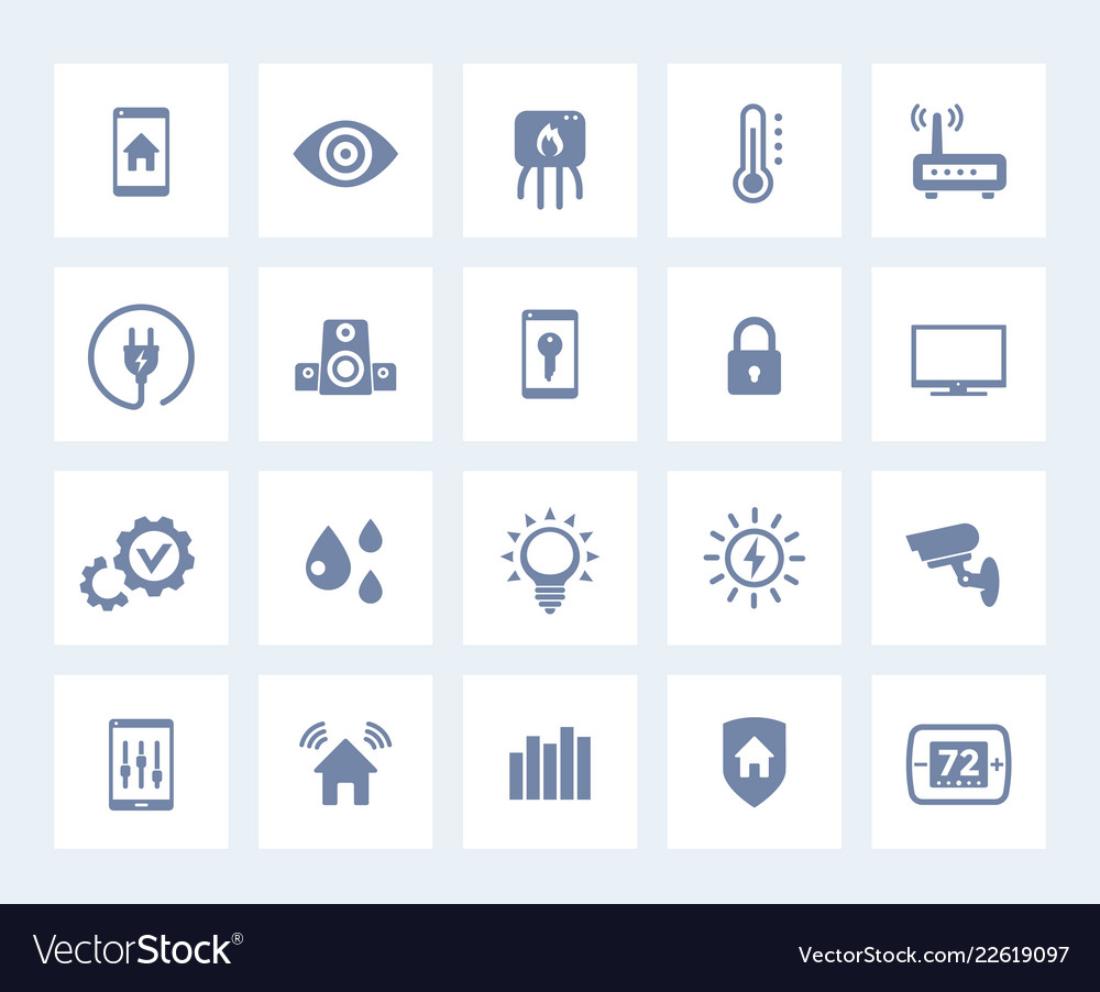 Smart house home automation system icons