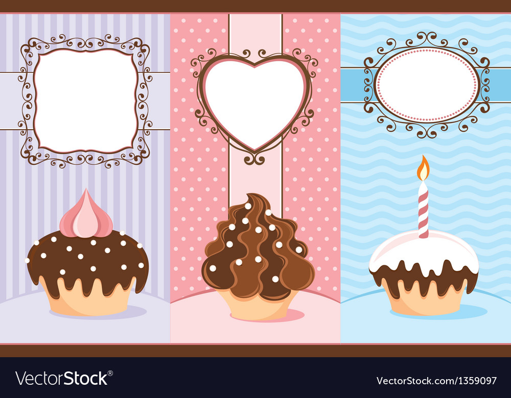Three banners with cupcakes