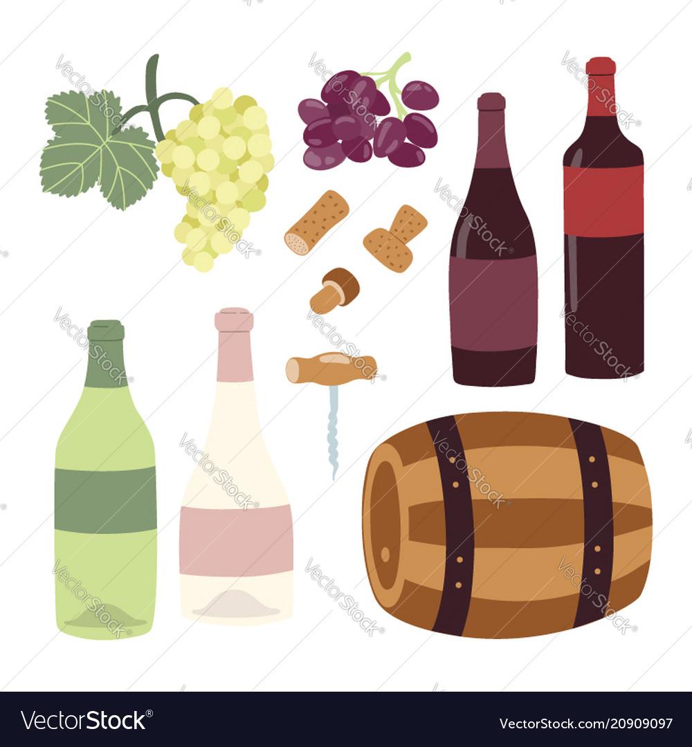 Winemaking hand drawing set wine bottles grape