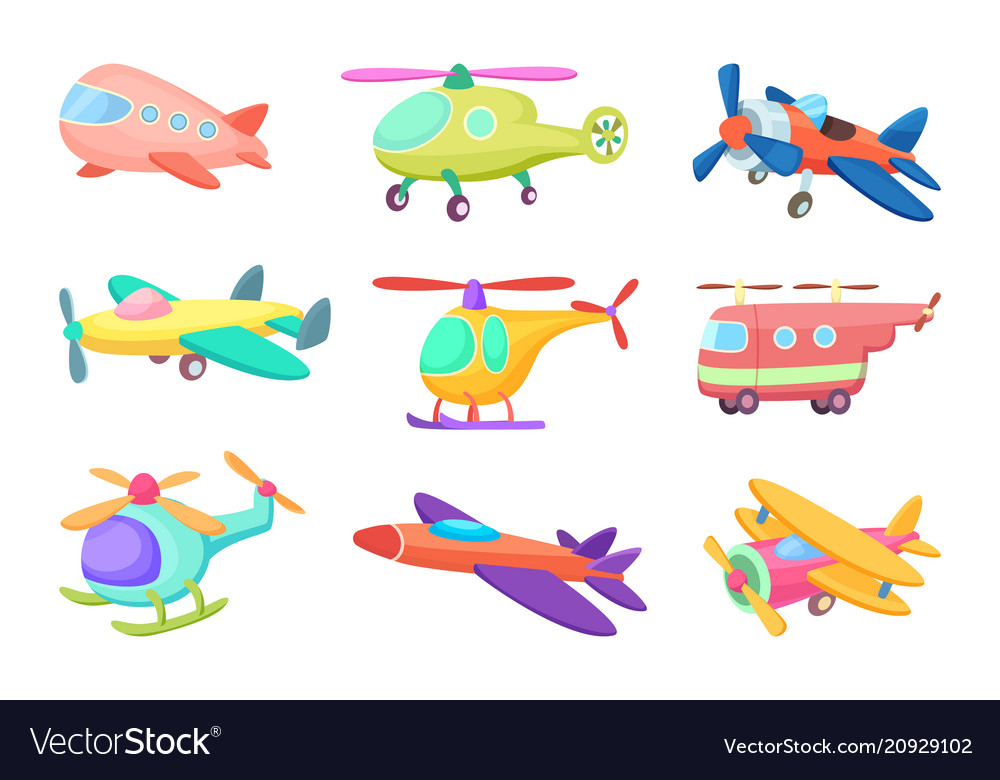 Aeroplanes in cartoon style