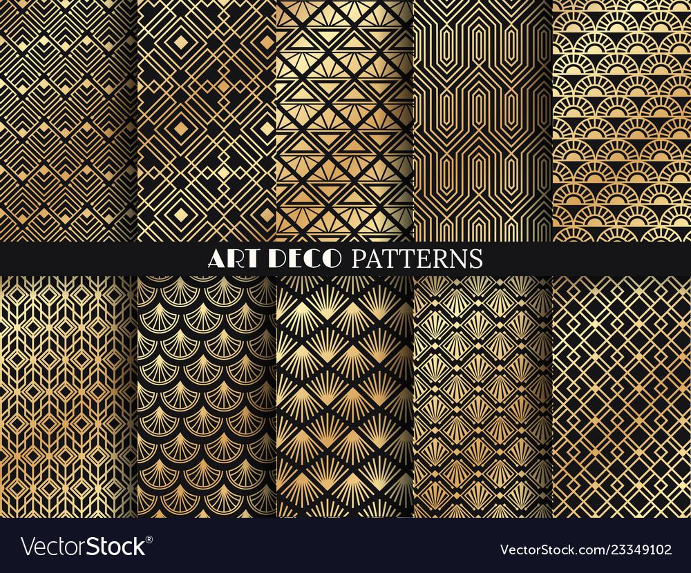 Art deco pattern golden minimalism lines vintage