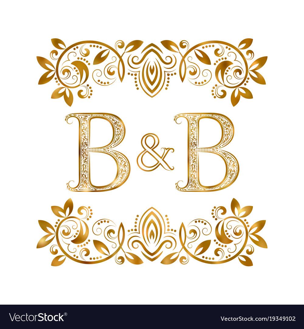 Bb vintage initials logo symbol letters b