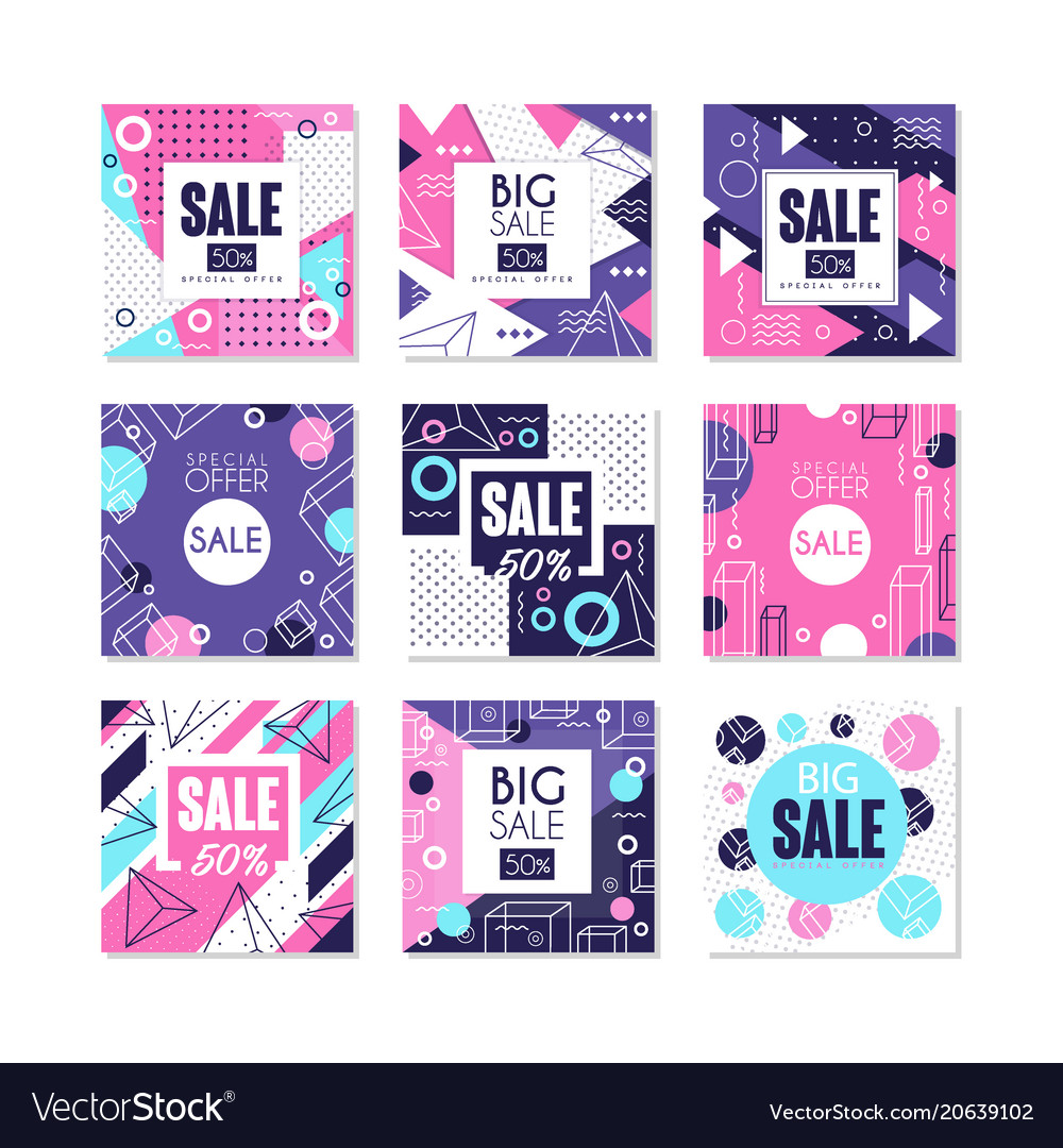 Big sale special offer banners set bright