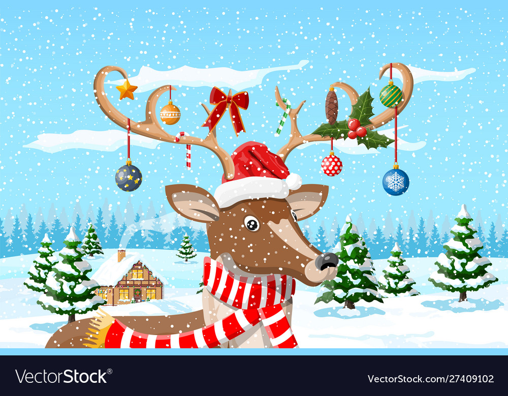 Christmas background with cute deer