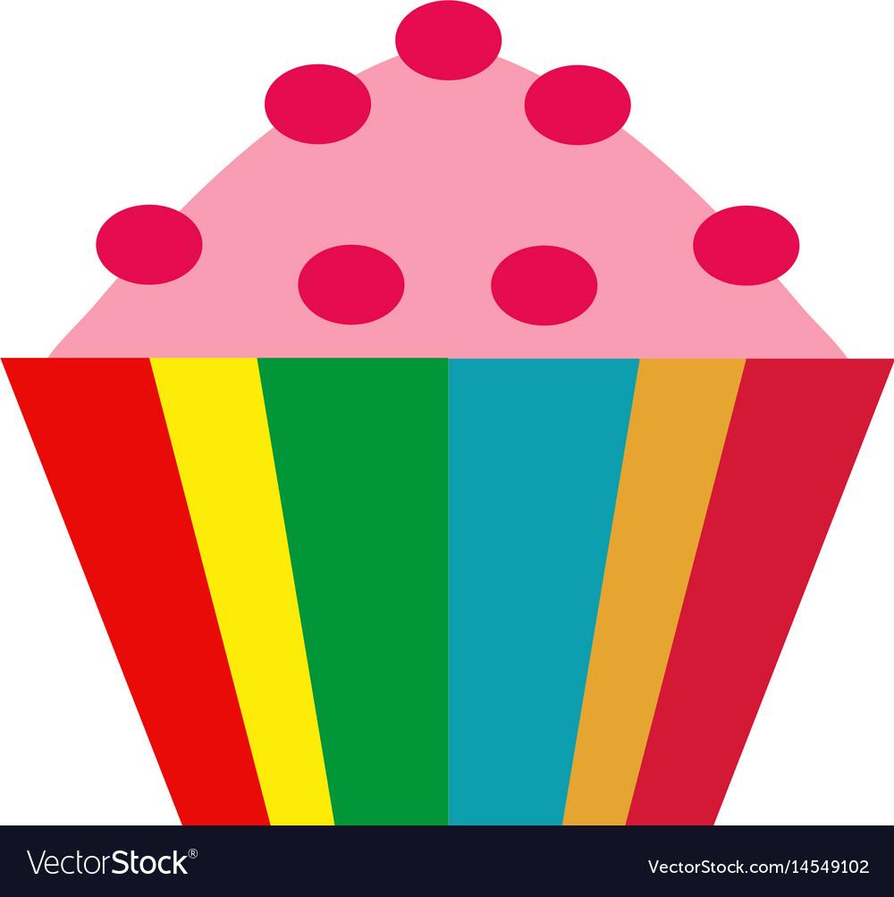 Colorful cupcake icon flat cartoon style