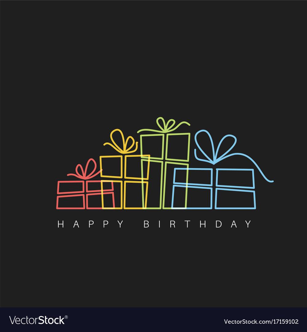 Dark happy birthday with presents vector image