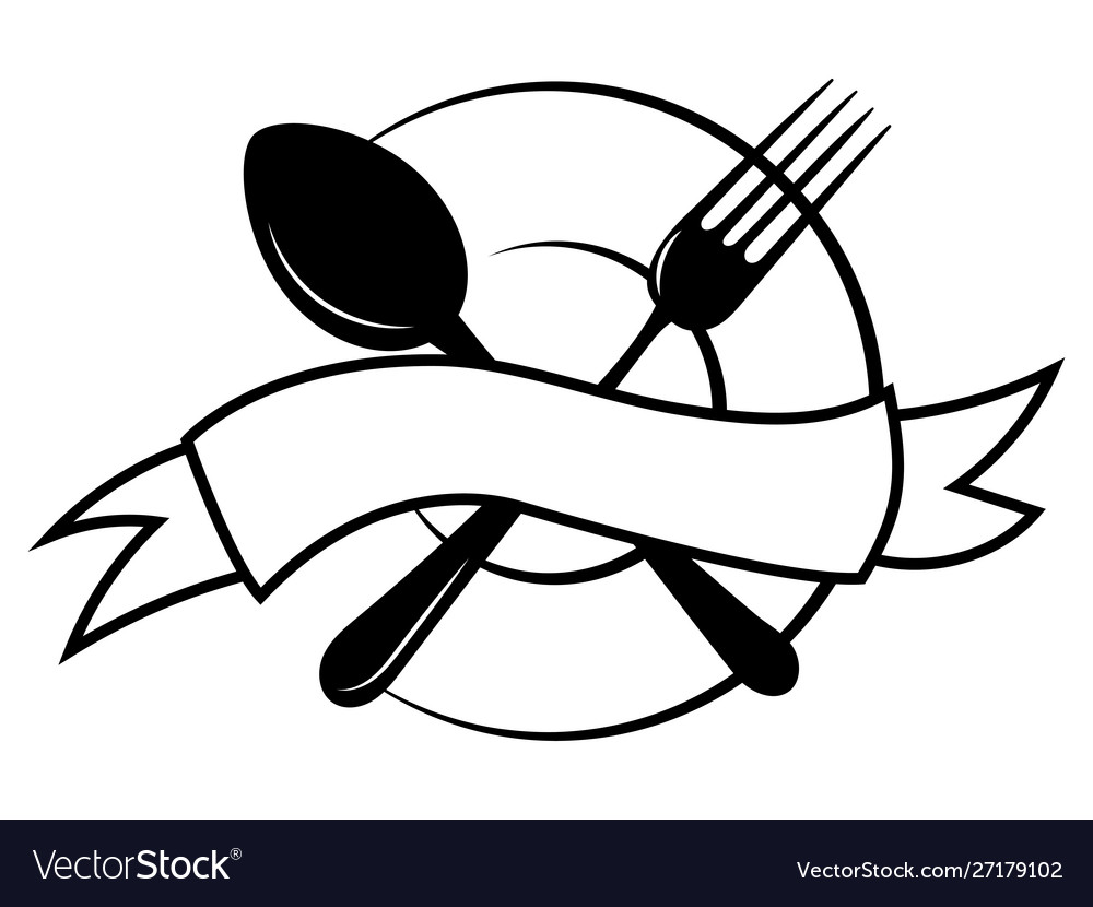 Emblem for restaurant black and white