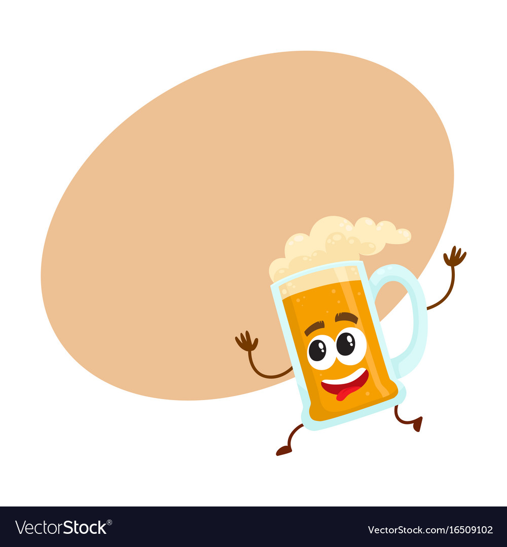 Funny beer glass mug character with human face