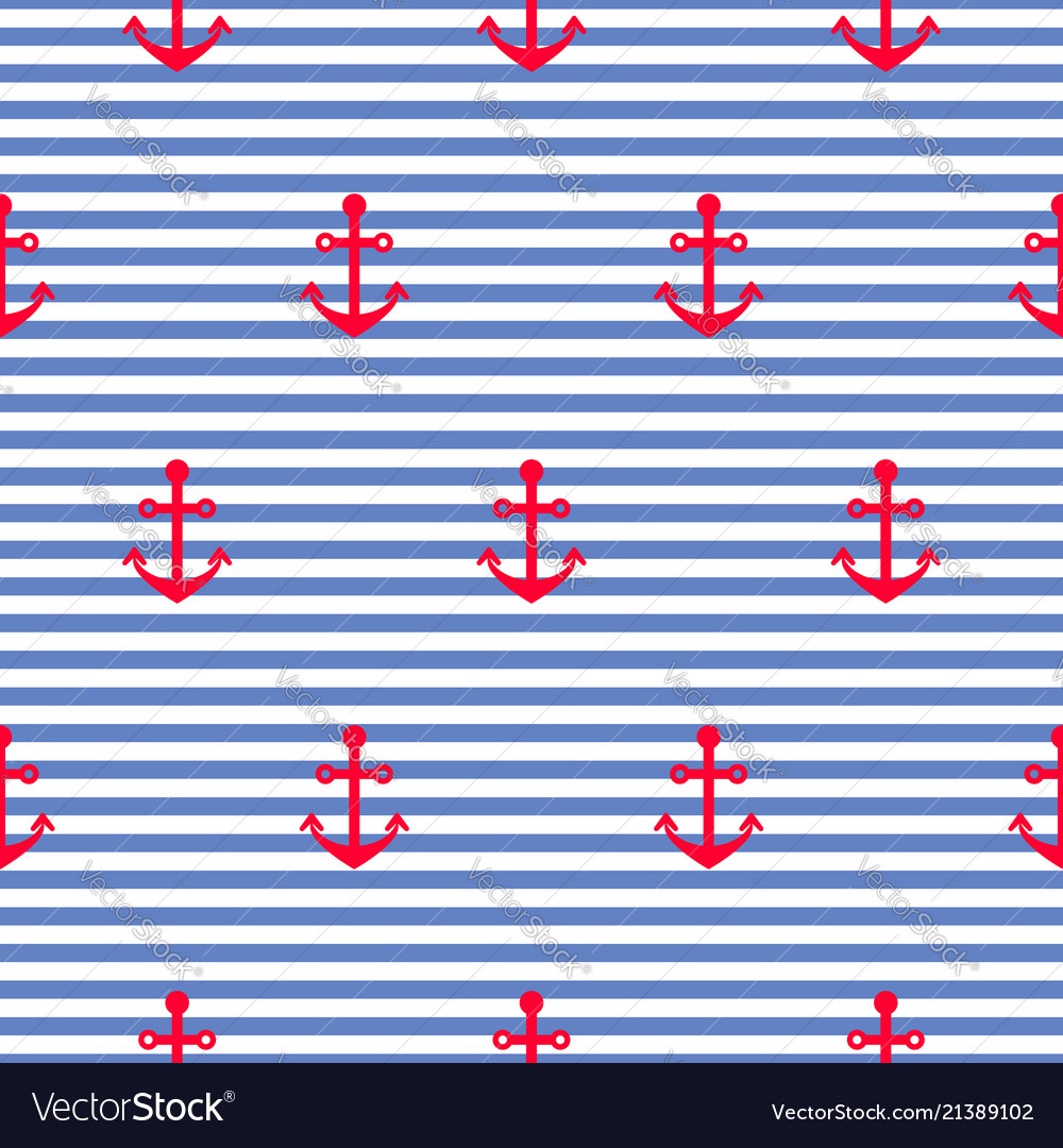 Nautical seamless pattern with anchors