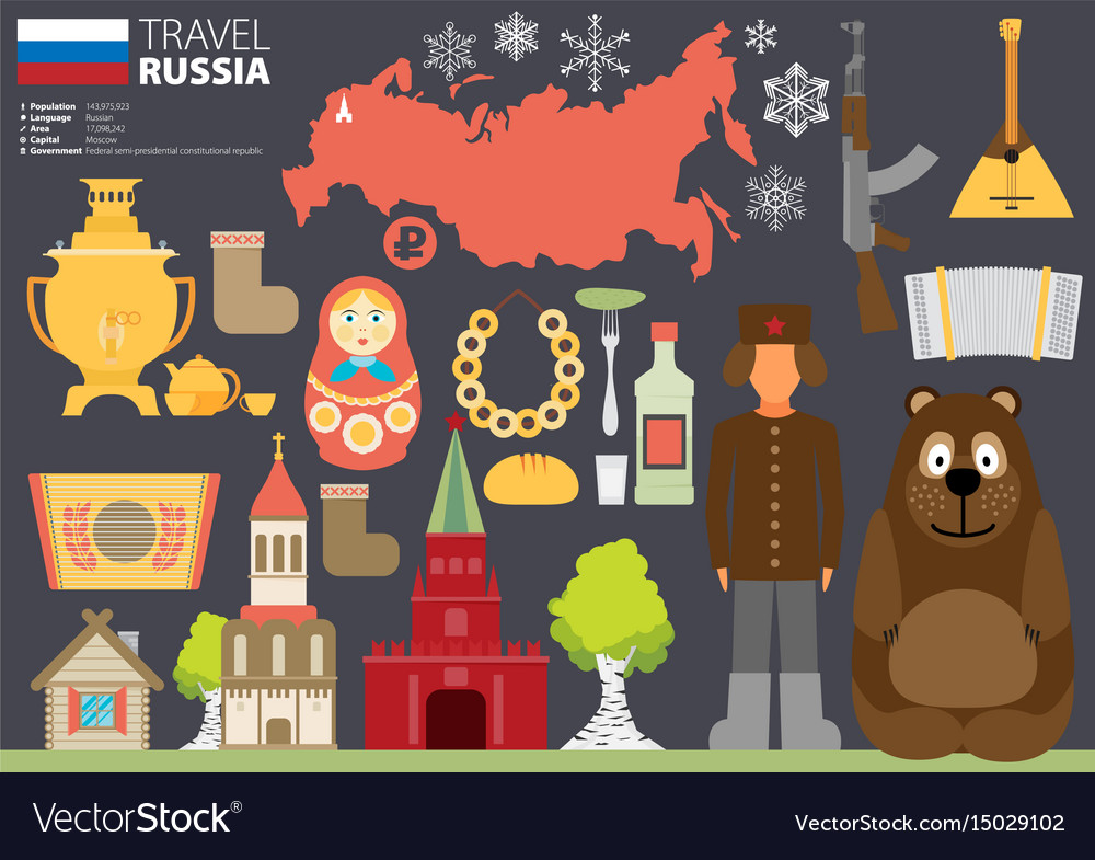 Set of russia-themed design elements