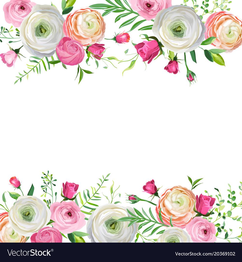 Spring And Summer Floral Frame For Decoration Vector Image