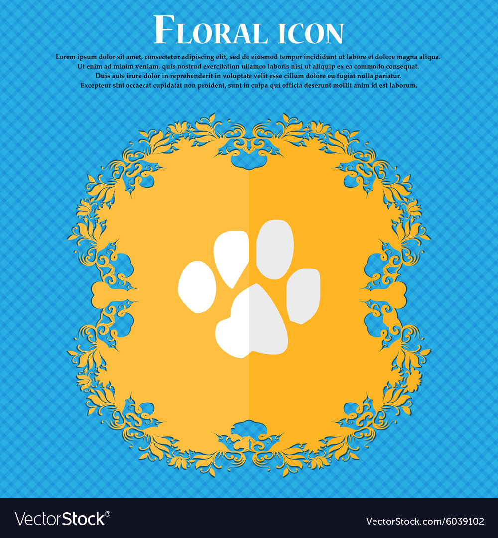 Trace dogs Floral flat design on a blue abstract