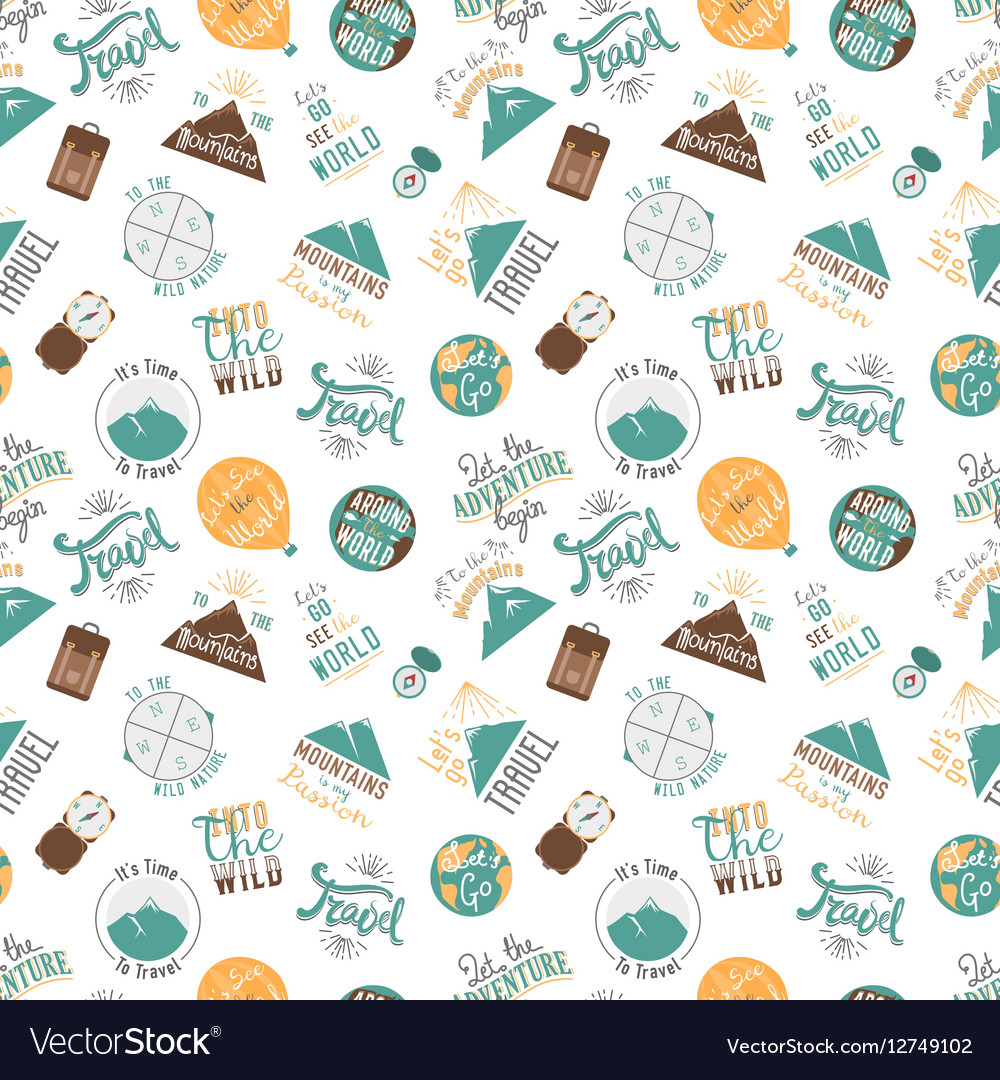 Travel and tourism seamless pattern