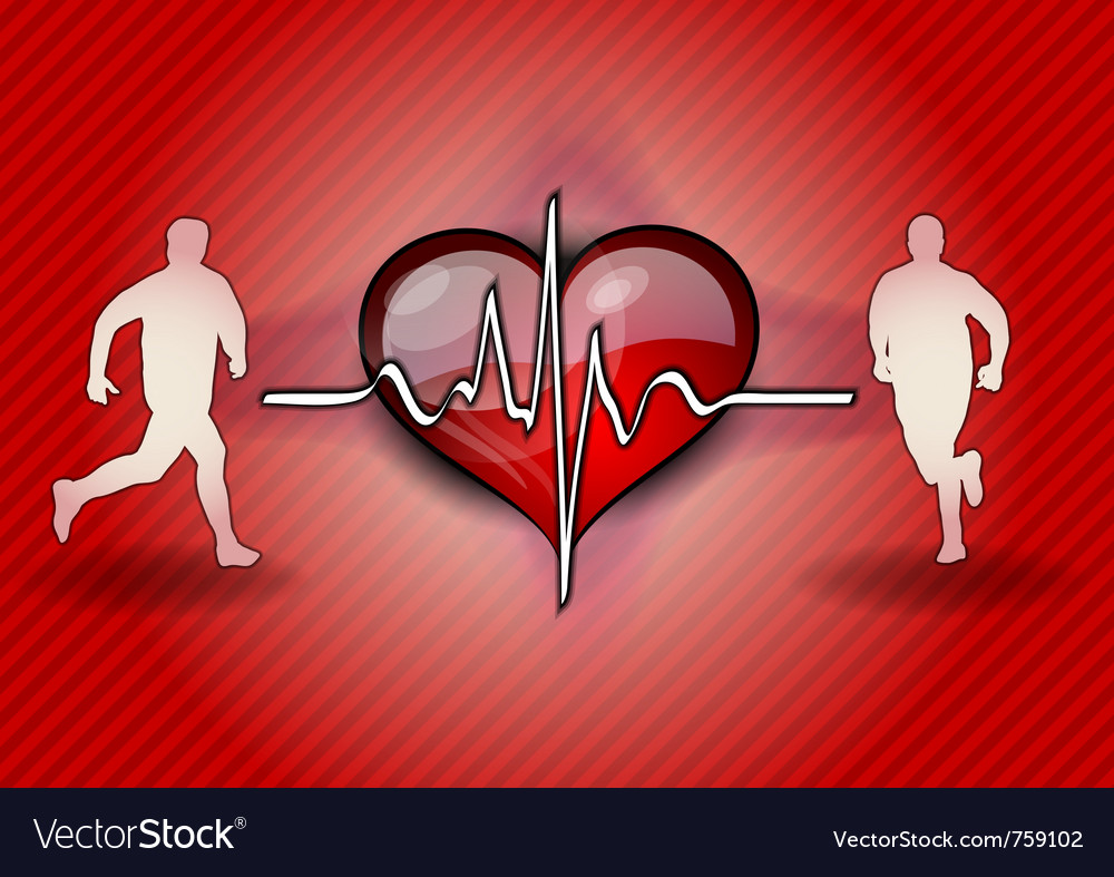 Two runners on the health background