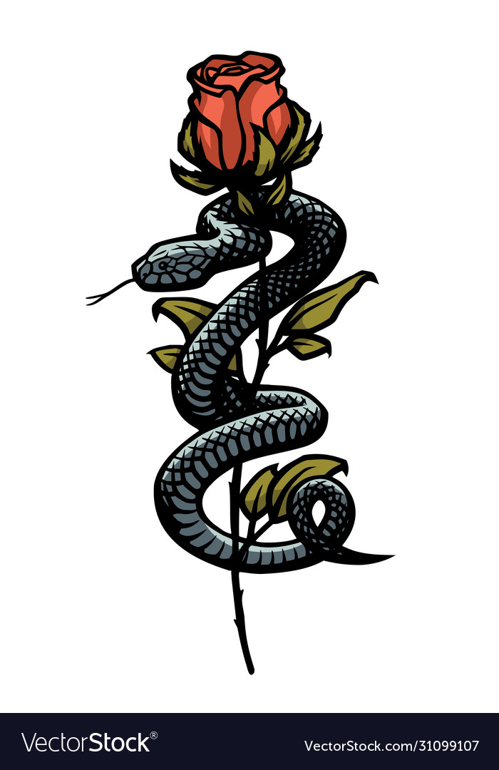 A snake entwined around a rose