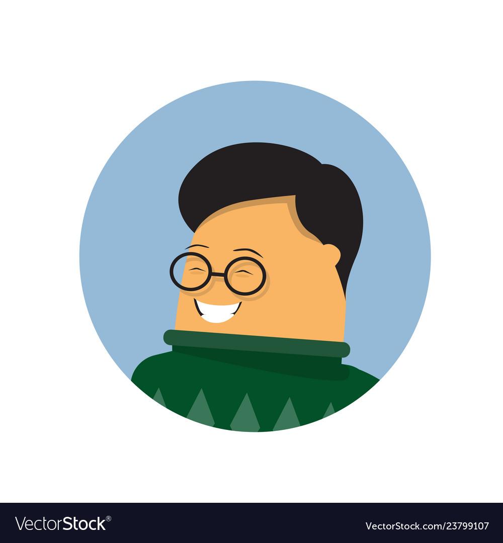 Asian businessman profile icon isolated male