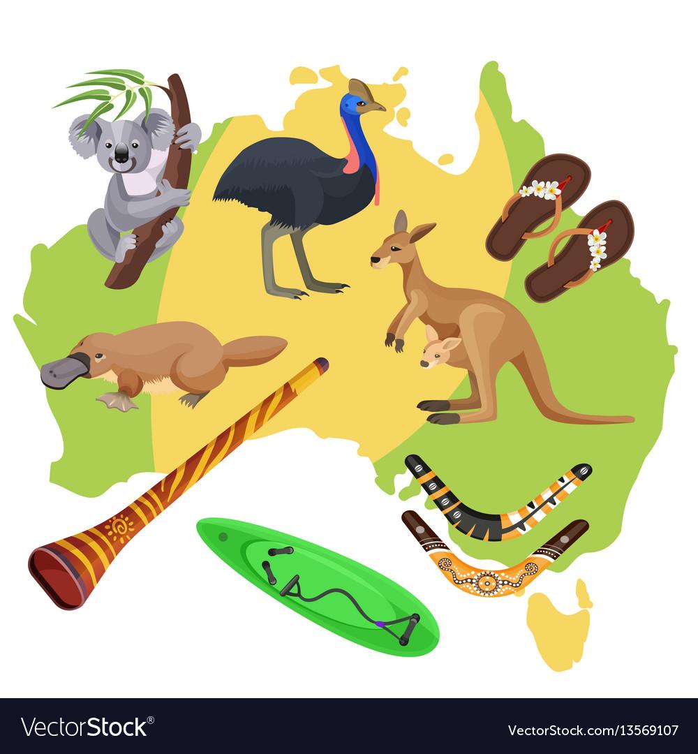 Australia symbols on map koala kangaroo