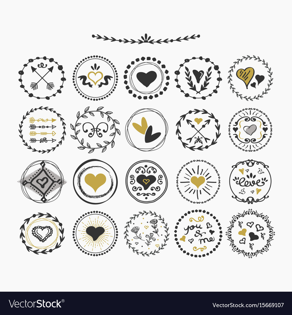 Black and golden hand drawn cute circle hearts vector image