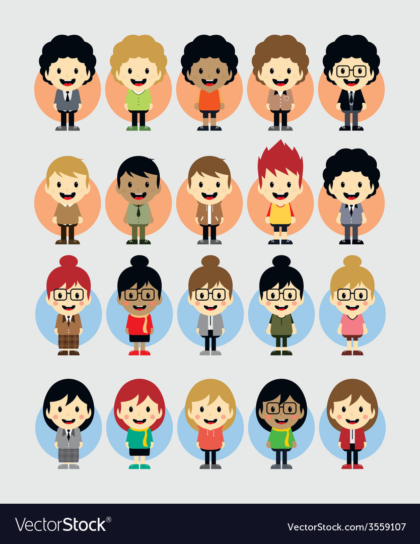 Boy and girl cartoon character set vector image