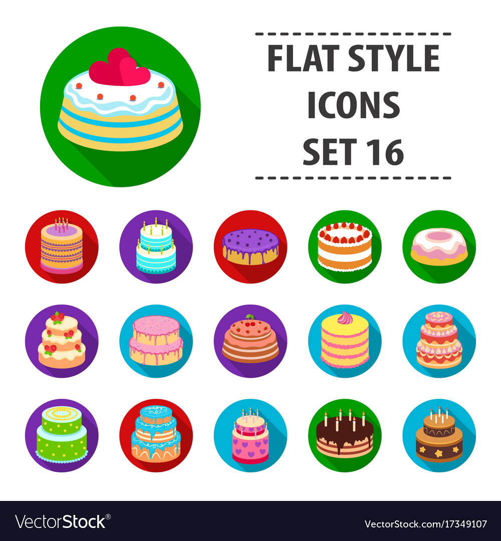 Cakes set icons in flat style big collection of