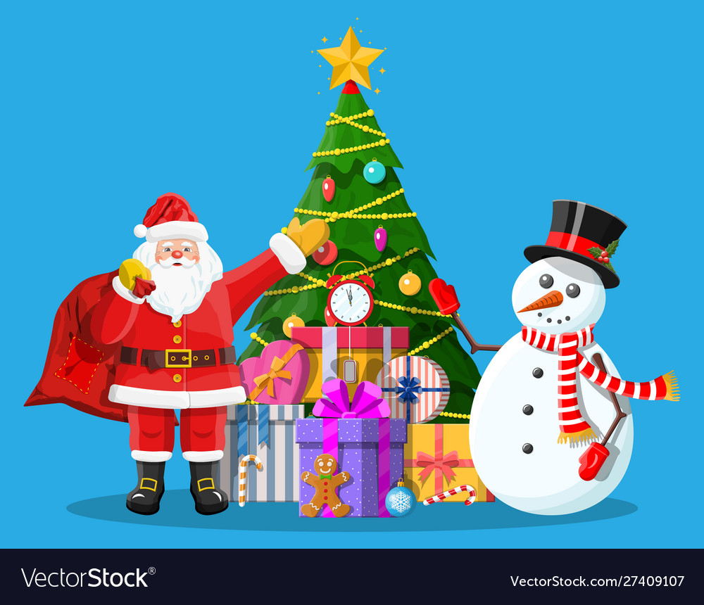 Christmas tree balls gift boxes santa and snowman