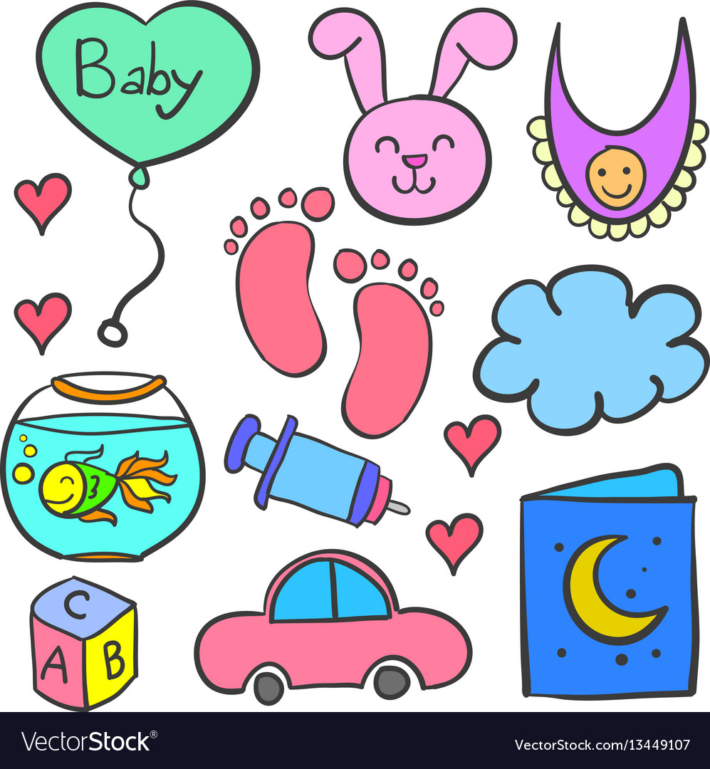 Doodle of baby theme with toys