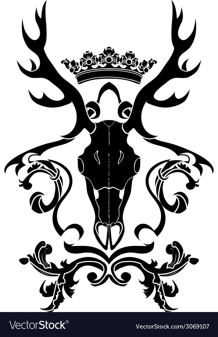 Emblem heraldic symbol with deer skull and crown
