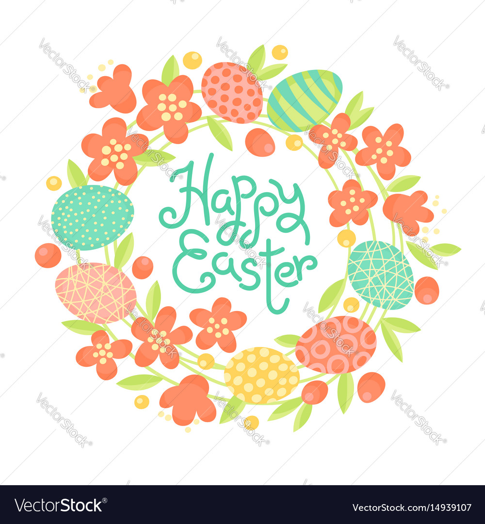 Happy easter inscription wreath of flowers and