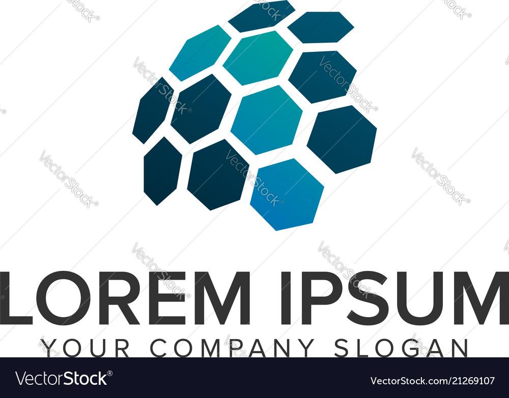 Hexagonal abstract technology logo design concept