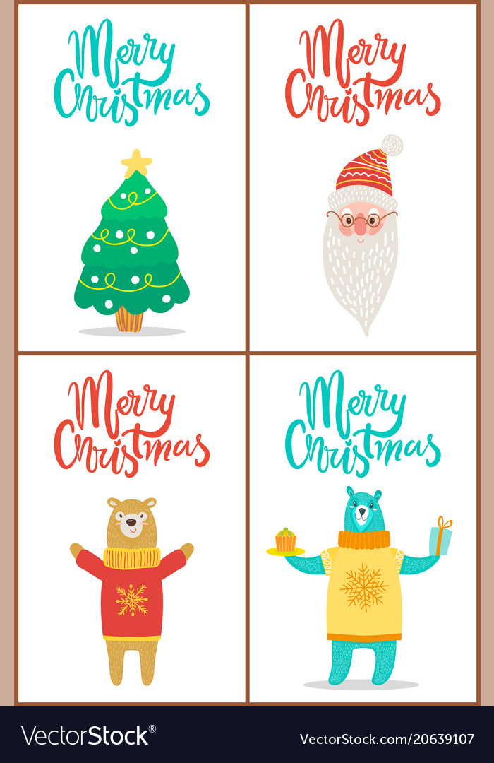 merry christmas posters set royalty free vector image