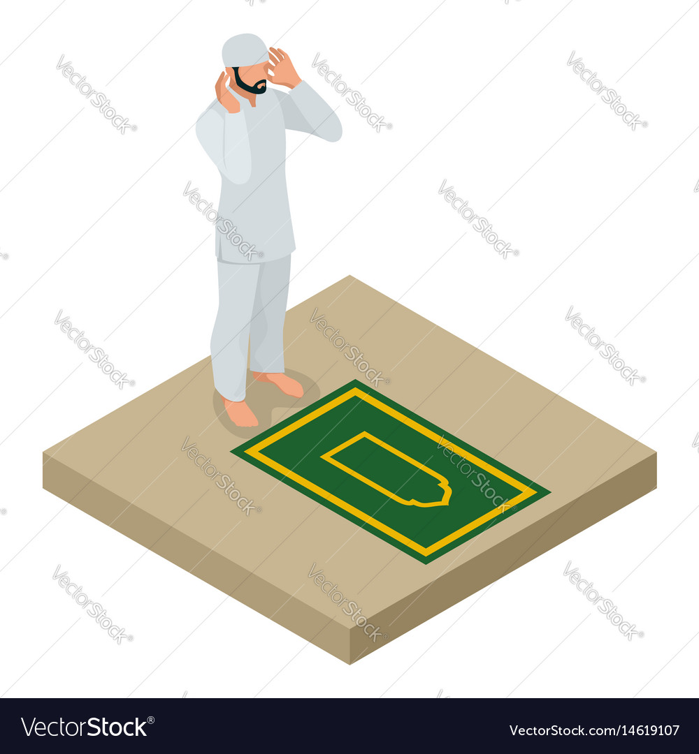 Muslim man prays flat isometric