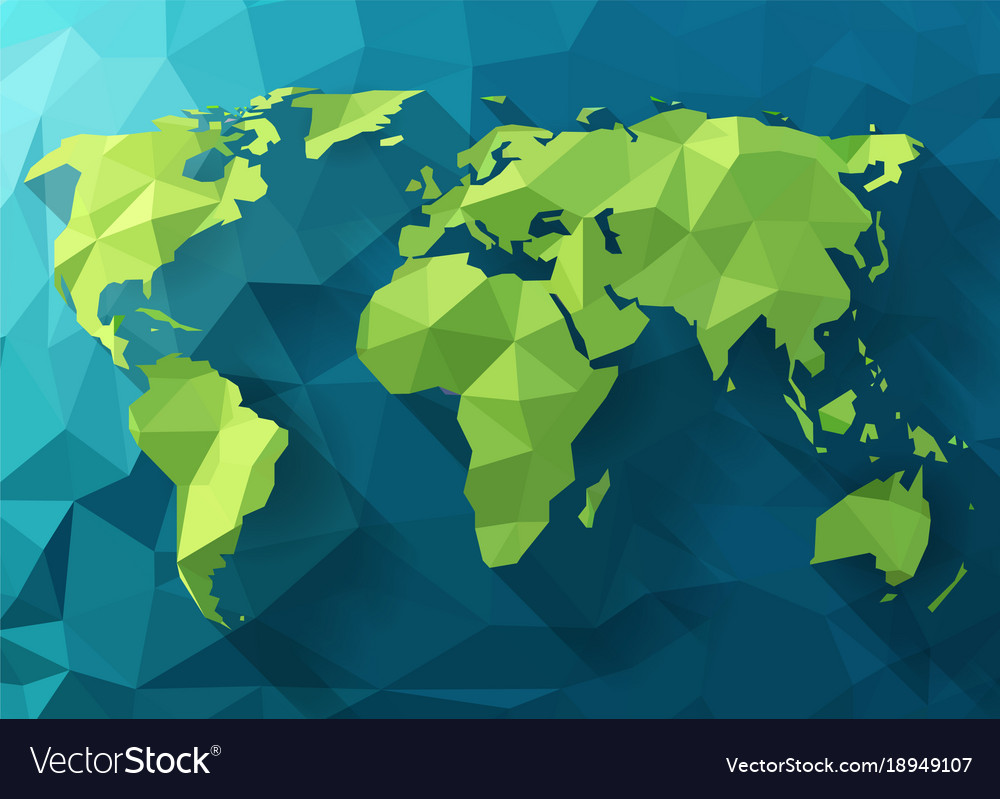 Polygonal world map low poly design origami vector image gumiabroncs