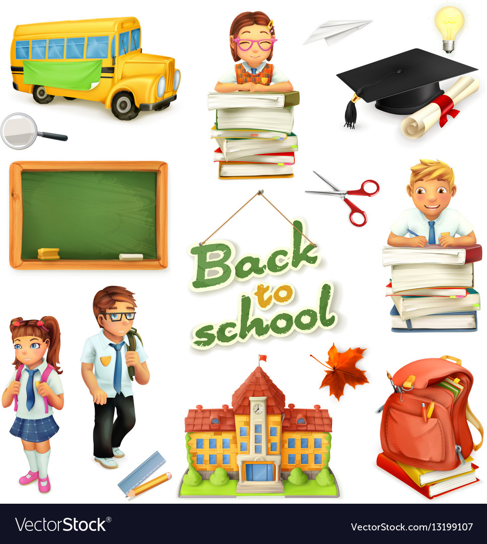 School and education 3d icon set Funny cartoon