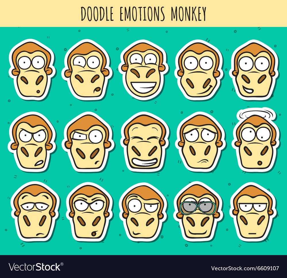Set 15 doodle sticker heads of monkeys with