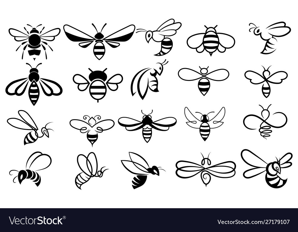 Set bees collection stylized honey bees